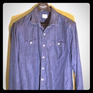 Levis XL indigo dark jeans shirt